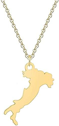 Zaaqio Collar Esquema Mapa de Italia Collar Mujeres Hombres País País Italia Mapa Colgante Collar Acero Inoxidable Mapa Italiano Joyería