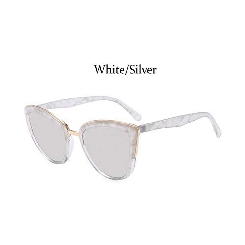 Taiyangcheng Katzenspiegel Sonnenbrillen Frauen Eye Cat Metallrahmen Mädchen Sonnenbrillen Damen Big Frame Farbverlauf,Weißsilber