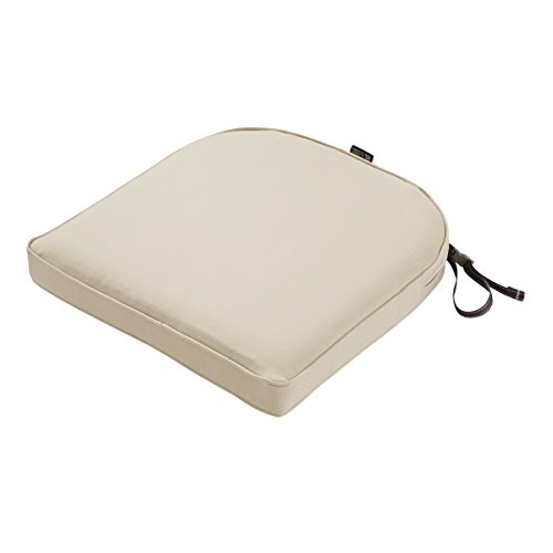 Classic Accessories Montlake Water-Resistant 18 x 18 x 2 Inch Contoured Patio Dining Seat Cushion, Antique Beige