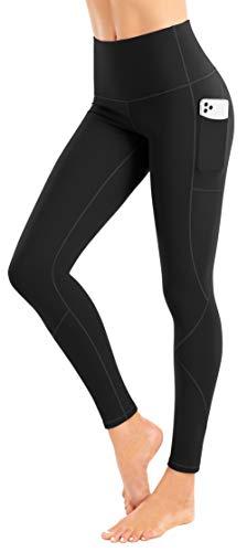 LIFE SKY Pantalones de yoga con forro polar con bolsillos para mujer, cintura alta, control de barriga, mallas cálidas para invierno, leggings térmicos para correr, color negro XS