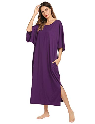 Ekouaer Nightgowns, Womens Round Neck Loungewear Plus Size Pajama Loose Pockets Long Sleep Dress
