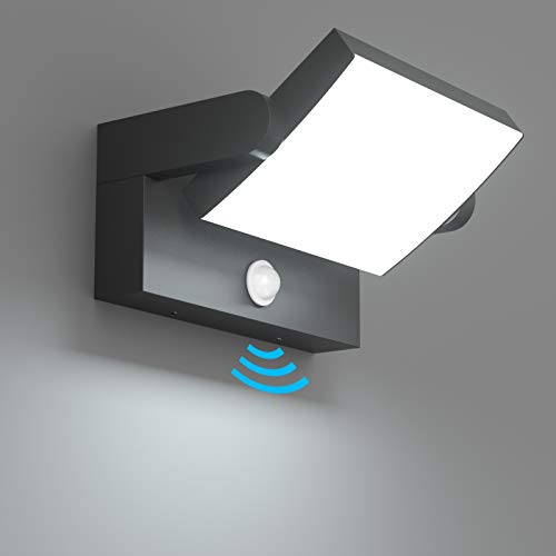 Klighten 24W LED Außenwandleuchte Aussenleuchte mit Bewegungsmelder IP65 Wandleuchte Innen Außen Wandlampe mit Schwenkbar Panel, Außenlampe für Garten Terrasse, Schwarz, kaltes Weiß 5700K-6000K
