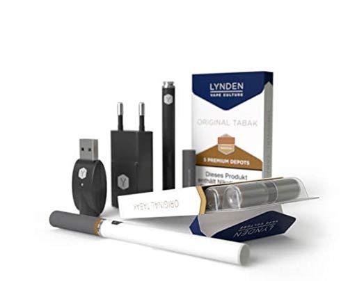 Lynden Premium Starter-Set-E-Zigarette(weiß)+2 x 5 exquisite nikotinfreie Depots(verschiedene Geschmacksvarianten) (Depot1-Tabak-0mg Nikotin, Depot2-Wild Cherry-0mg Nikotin)