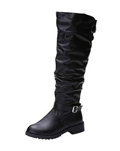 Minetom Donna Scarpe da Moda Stivaletti Scarponcini Biker Cavalier Classic Tacco A Blocco Comodi Casuale Stivali Alti Boots Nero 39 EU