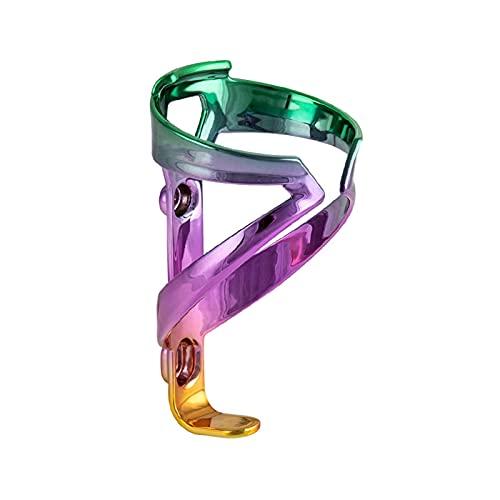 jiejie store Bicicleta ultraligero Titular de la botella de agua Gradiente deslumbrante de la fibra de vidrio Nylon Moldeado integral MTB Carretera Titular de la bici ( Color : Green Purple Gold )