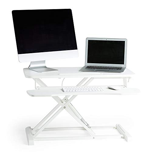 VonHaus Sit Stand Desk | Gas Assisted White Screen Monitor Riser Workstation | Home Office Standing Two Tier Desk Converter