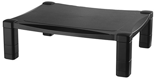 Kantek Single Level Height-Adjustable Monitor/Laptop Stand, 17-Inch Wide x 13-Inch Deep x 3 to 6.5-Inch High, Black (MS400)