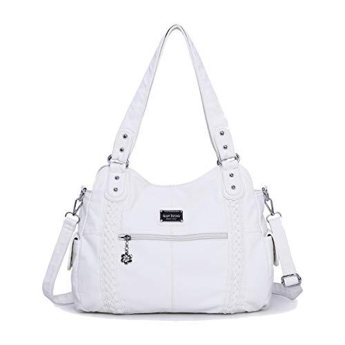 SDINAZ Damen handtaschen Mode PU Leder Schultertaschen Hohe Kapazität Shopper Umhängetaschen Weiß