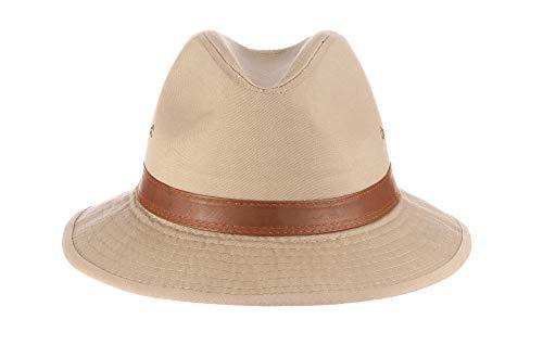 Dorfman Pacific Men's One-Piece Canvas Faux Leather-Trim Safari Hat,Khaki,XX-Large