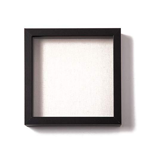 Muzilife 3D Bilderrahmen zum Befüllen 20x20cm Tiefe Box Objektrahmen mit Glasscheibe 1 Stück Schwarz