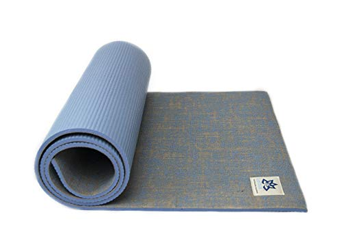 "LOTTUS LIFE Natural Eco Jute Fiber Premium Yoga & Exercise Mat w/strap - Best Quality Extra Thick 8mm - Eco-Friendly - Extra Long 72"" - Unique Designer Colors - Memory Foam-Like (Blue Moon)"