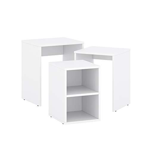 Juego de 3 mesas auxiliares rectangulares, color blanco