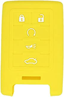 SEGADEN Silicone Cover Protector Case Skin Jacket fit for CADILLAC CHEVROLET 5 Button Smart Remote Key Fob CV2770 Yellow