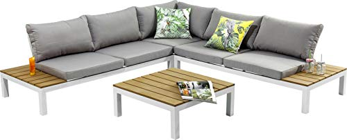 Kare Design Holiday-Conjunto (4 Piezas, Exterior, Muebles de jardín XXL, con Mesa, Asiento y cojín para Respaldo, Color Blanco y Gris, 63 x 246 x 246 cm), Polirresina, 242 x 242 x 63