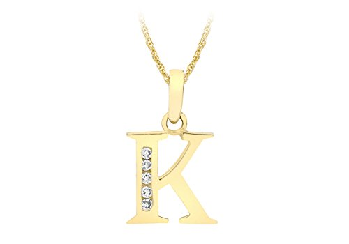 Carissima Gold Women's 9 ct Yellow Gold Cubic Zirconia 10 x 12 mm Initial K Pendant on 9 ct Yellow Gold 0.4 mm Prince of Wales Chain Necklace of Length 46 cm/18 Inch