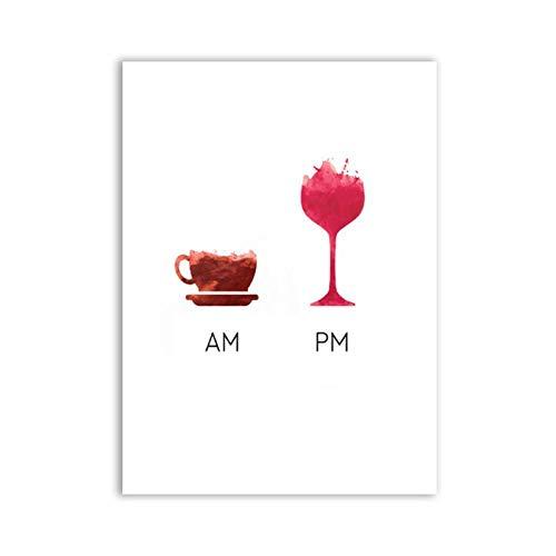 Mulmf Grappige Wijn Quote Minder Whine Meer Wijn Poster Canvas Art Print, Humor Wijn Wandbeeld Canvas Schilderij Bar Art Decor- 40X50Cm/Unframed