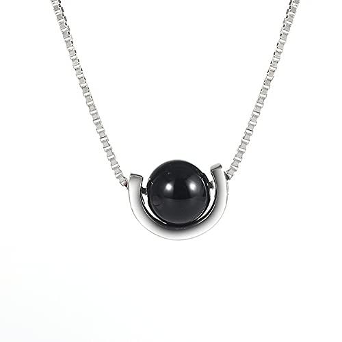 N/A Collier Rotation Petit Bonnet Collier Femmes Perles Rondes Noires Lumière Luxe Niche Design Chaîne Clavicule Simplepas Allergique