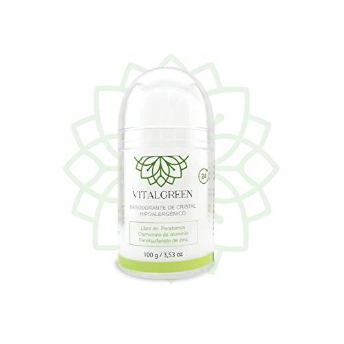 Vital Green Desodorante Cristal Alumbre De Potasio - Sin Clorhidrato De Aluminio, Ni Alcohol - Elimina El Olor Y No Mancha - Para Hombres, Mujeres Y Deportistas - 100gr - 3.5oz (Paquete 1 Unidad)