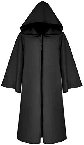 chuangminghangqi Unisex Umhang mit Kapuze Mittelalter Robe Kostüm Gothic Kapuzenumhang Zauberer Ritter Kostüm Halloween Karneval Cosplay Hexe Vampir Kleidung Mantel (XX-Large, Schwarze)
