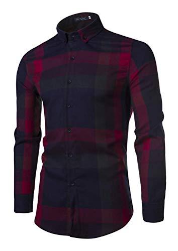 ZHANGSL Herren Plaid Shirt, Buttoned Lumberjack Corduroy Langarm-Shirt, dünne Wolle gefüttert Hemd-Jacken,B,L