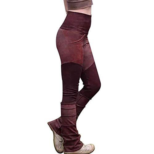 Vrouwen Hoge Taille Broek Elastische Stretchy Casual Broek Warm Flared Broek 2XL Rood