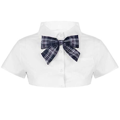 TiaoBug Damen sexy Crop Top Kurzarm Sommer T-Shirt bauchfrei Super Kurz Strech Baumwolle Frauen Erotik Dessous Unterwäsche Cosplay Kleidung Hemd Blau Fliege M