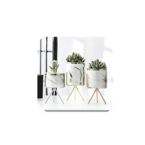 Nordic Ceramic Iron Art Vase Marble Pattern Rose Gold Silver Tabletop Green Plant Flower Pot Home Office Vases Decorative,Gold S
