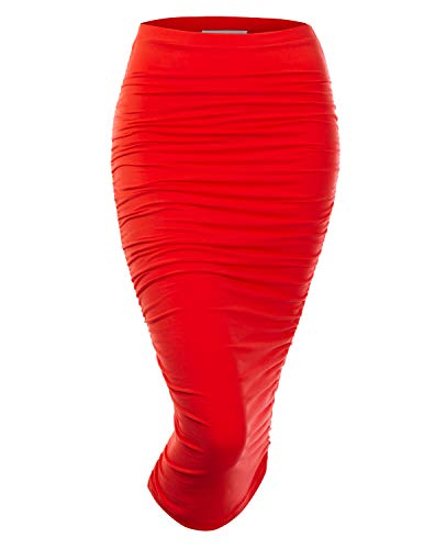 Doublju Womens Slim Fit Ruched Long Pencil Skirt with Plus Size RED 1X