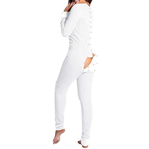 Pijama sexy de una pieza para mujer, con solapa funcional con botones en la espalda, mono de moda, color blanco, XXL