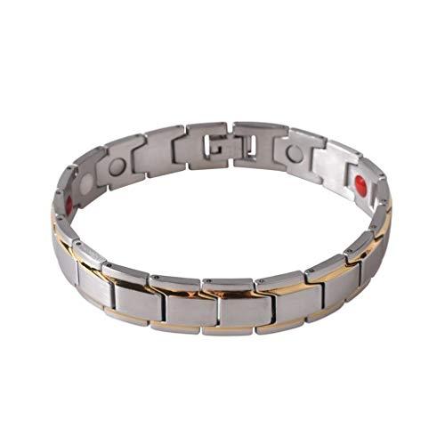 CandyTT Pulsera de energía de Salud de Acero de Titanio único Informal para Hombre, Pulsera elástica magnética de Color sólido, joyería para Hombre (Plata)