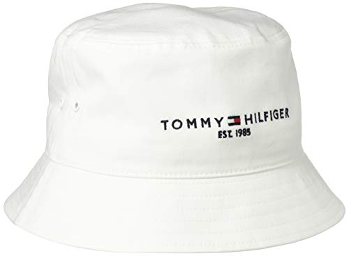 Tommy Hilfiger Established Bucket Hat Gorro/Sombrero, TH Optic Blanco, Taille Unique para Hombre