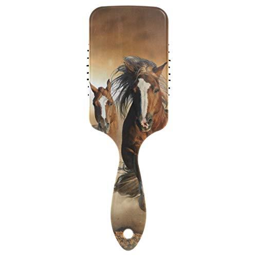 Peine de masaje de castaño salvaje caballos correr polvo cojín cepillo antiestático cepillo de masaje cerebro para relajarse