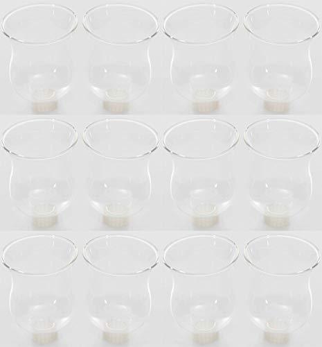 Novaliv 12x Teelichtaufsatz klar 8 cm Glasaufsatz für Kerzenleuchter Kerzenständer Glas Adventskranz Teelichthalter Stabkerzenhalter Kerzenpick 6cm