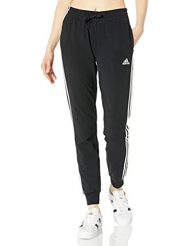 adidas Women's Essentials Single Jersey 3-Stripes Pants, Black/White, Large