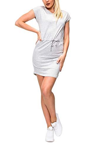 ONLY Damen Jerseykleid Freizeitkleid Sommerkleid Shirtkleid Print (L, Light Grey Melange/Solid)