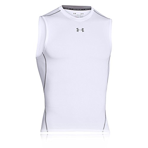Under Armour Herren UA HeatGear Armour Sleeveless ärmelloses Funktionsshirt, komfortables Tank Top mit Kompressionspassform, Weiß, XL