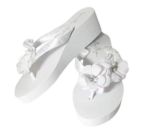 White 2 inch Bridal Wedge Heel Flip Flops with Satin Ribbon Chiffon Pearl Flowers (5)