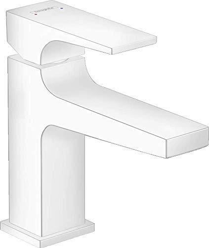 hansgrohe Metropol 32500700 - Grifo monomando para lavabo (100 cm, con palanca para lavabos con desagüe push-abierto), color blanco mate