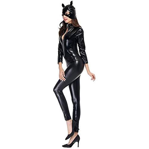 LXZH Mujeres Adultas Mono de Charol de PVC Negro Ropa de Motocicleta Neutral Club Catwoman Disfraz de Cosplay