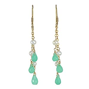 Cultured Freshwater Pearl and Chrysoprase Chandelier Gold Plated Sterling Silver Drop Earring