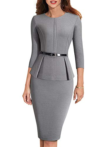 Etuikleider Knielang, One Piece Bodycon Midi Business Kleider Damen Knielang