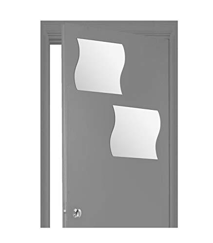 AC-Déco Spiegel, Wellenform, selbstklebend, 40 x 40 cm, Glas, 2 Stück