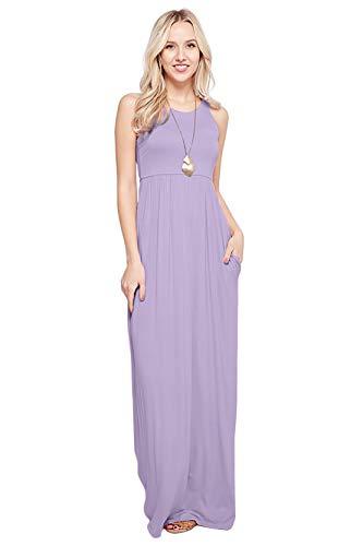 Maxi Dresses for Women Solid Lightweight Long Racerback Sleeveless W/Pocket -Lilac (2X)