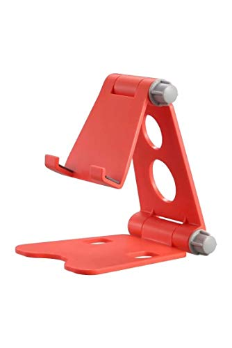 Soporte de teléfono plegable para teléfono móvil, multiángulo, soporte de escritorio, soporte para tablet universal (color: rojo)