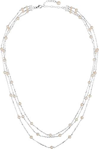 Sterling Silver Freshwater Cultured Pearl 3 Tiered Necklace, 17'