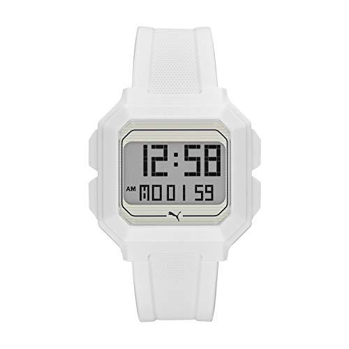 PUMA Men Remix Polyurethane Watch, Color: White (Model: P5018)