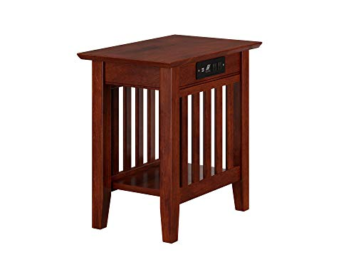 Atlantic Furniture Mission Chair Side Table with Charging Station, Walnut
