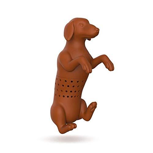 Luckything siliconen leuke hondvorm theeblad kruidenzeeffilter gietzak speelgoed, theezeef van levensmiddelen-silicone, leuke thee-ei siliconen opgietzak en zeef voor losse bladeren thee, kruiden