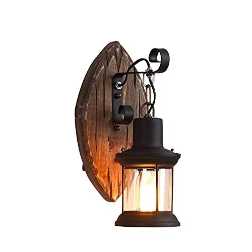 Lámpara de pared, interruptor de botón lámpara de noche de hierro forjado pintada en negro, adecuada para dormitorio y sala de estar. Tamaño 36 * 23 cm