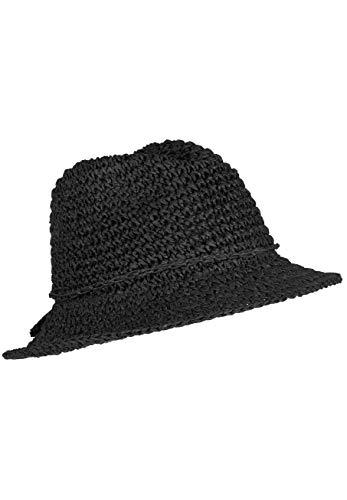 LOEVENICH Damen Fedora, sommerlicher Häkelhut aus Papier-Stroh, Farbe: Black